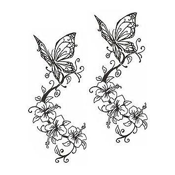 1da753c40 Amazon.com : Butterfly Tattoos Stickers Fashion Tattoo Design Unisex Fake  Body Tattoos Black : Beauty