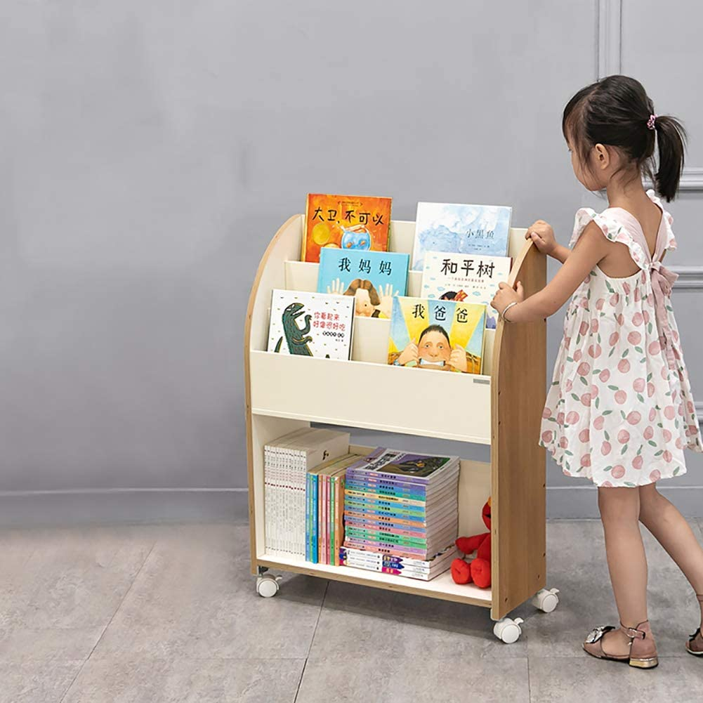 D&LE Wooden Bookshelf 2 Tiers, Rolling Bookcase Lockable Casters Storage Rack Portable Display Stand Kids Room Furniture-Log 63x23.5x85cm(25x9x33inch)