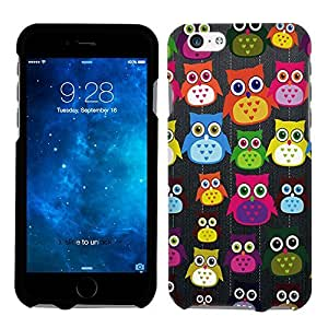 Apple iPhone 6 Plus Many Colorful Owls on Black Phone Case