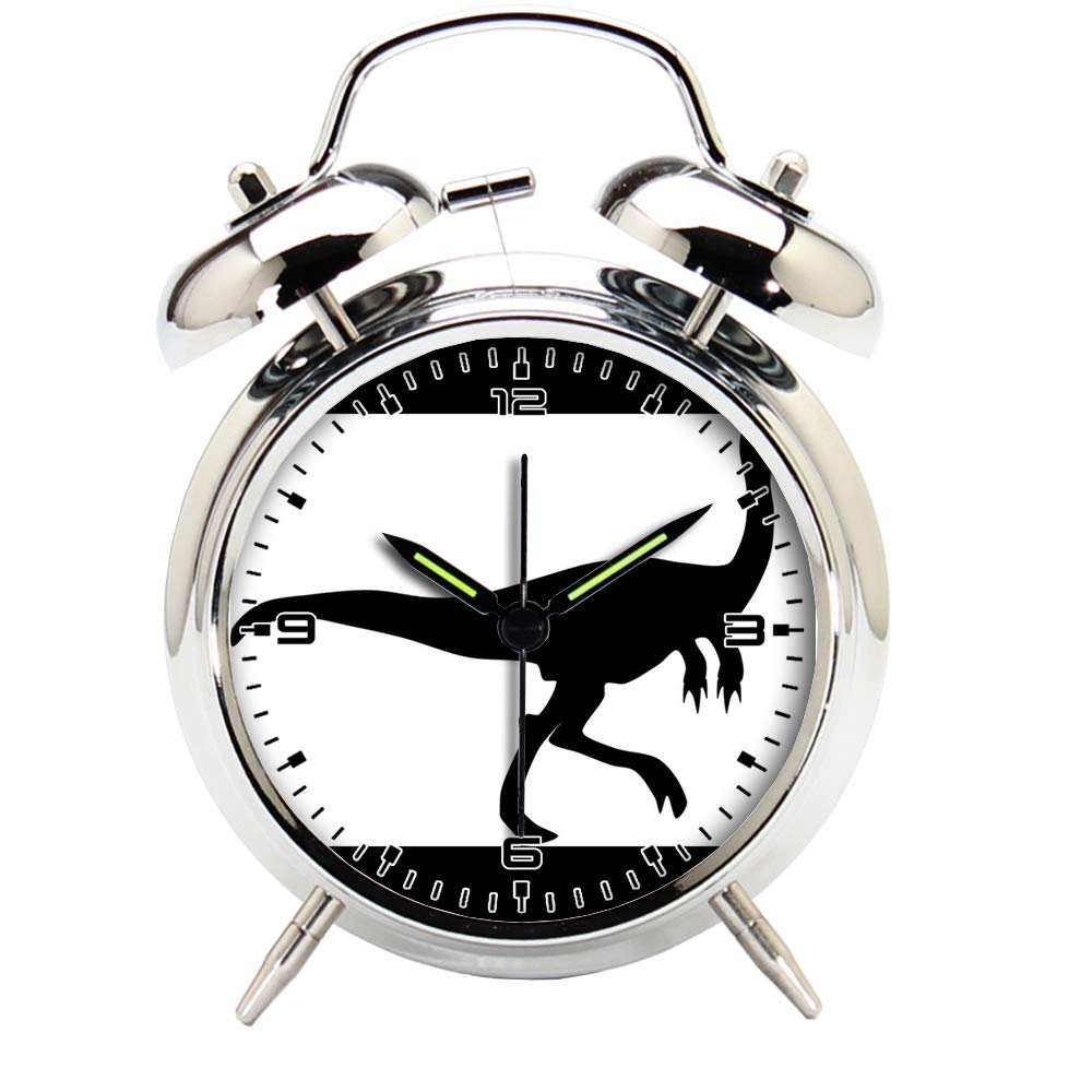 Children's Room Silver Dinosaur Silent Alarm Clock Twin Bell Mute Alarm Clock Quartz Analog Retro Bedside and Desk Clock with Nightlight-351.452_Dinosaur, Raptor, Silhouette, Jurassic, Animal