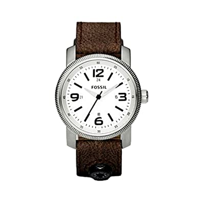 Fossil Men s JR1125 Brown Leather Strap White Analog Dial Compass Watch