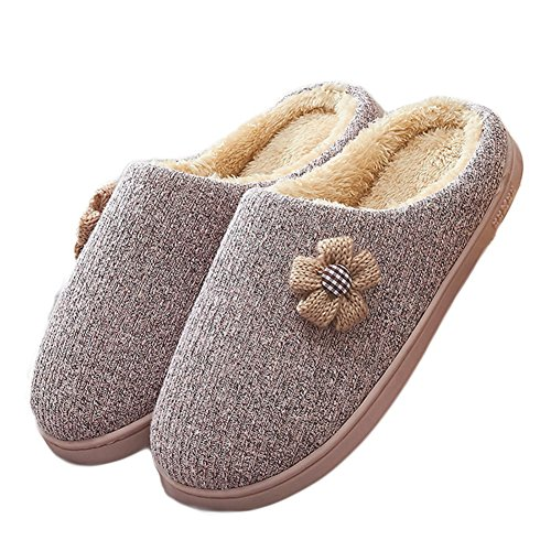 Cybling Womens Winter Lovely Flowers Comfort Indoor House Slipper Fur Lined Thick Sole Pink