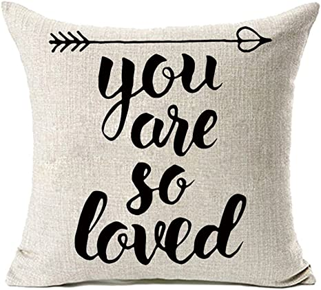 Amazon Com Mfgneh You Are So Loved Cotton Linen Pillow Covers Throw Pillow Case Cushion Cover 18 X 18 Inches Mom Birthday Gifts Mom Gifts Home Kitchen