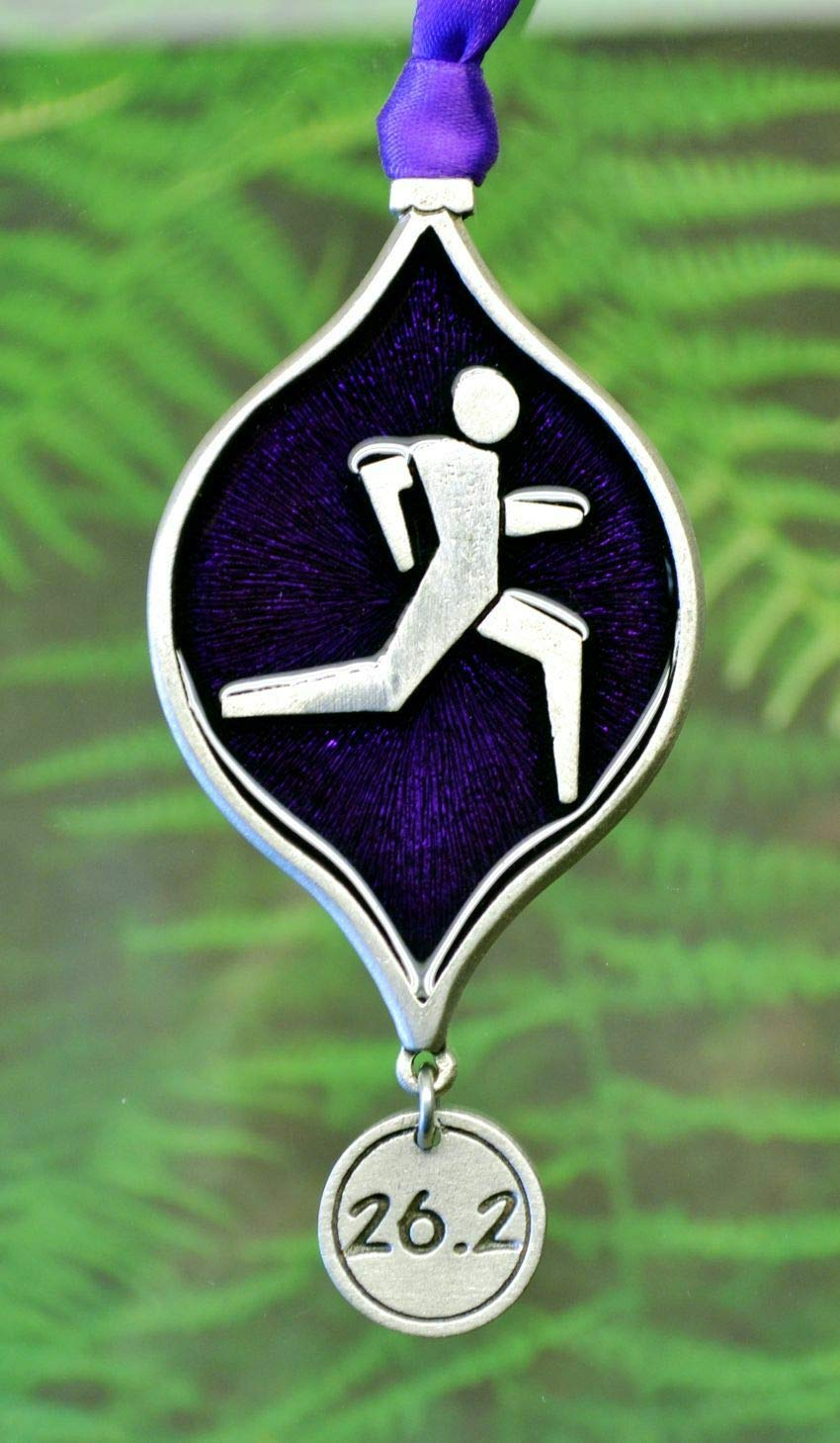 26.2 Marathon Runner Christmas Ornament  Decorations for Runners in Fine Pewter