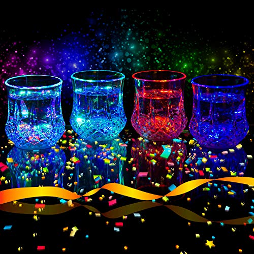 Liquid Activated Multicolor LED Glasses ~ Fun Light Up Drinking Tumblers - 6 oz. - Set of 4 -