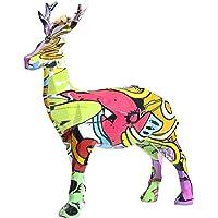 simhoa Resin Deer Figurines Office Shelf Decor Statue Graffiti Handmade Bookshelf Collectible Ornament Livingroom Club…