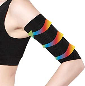 2 Pair Arm Slimming Shaper Wrap, Arm Compression Sleeve Women Weight Loss Upper Arm Shaper Helps Tone Shape Upper Arms Sleeve for Women - Black