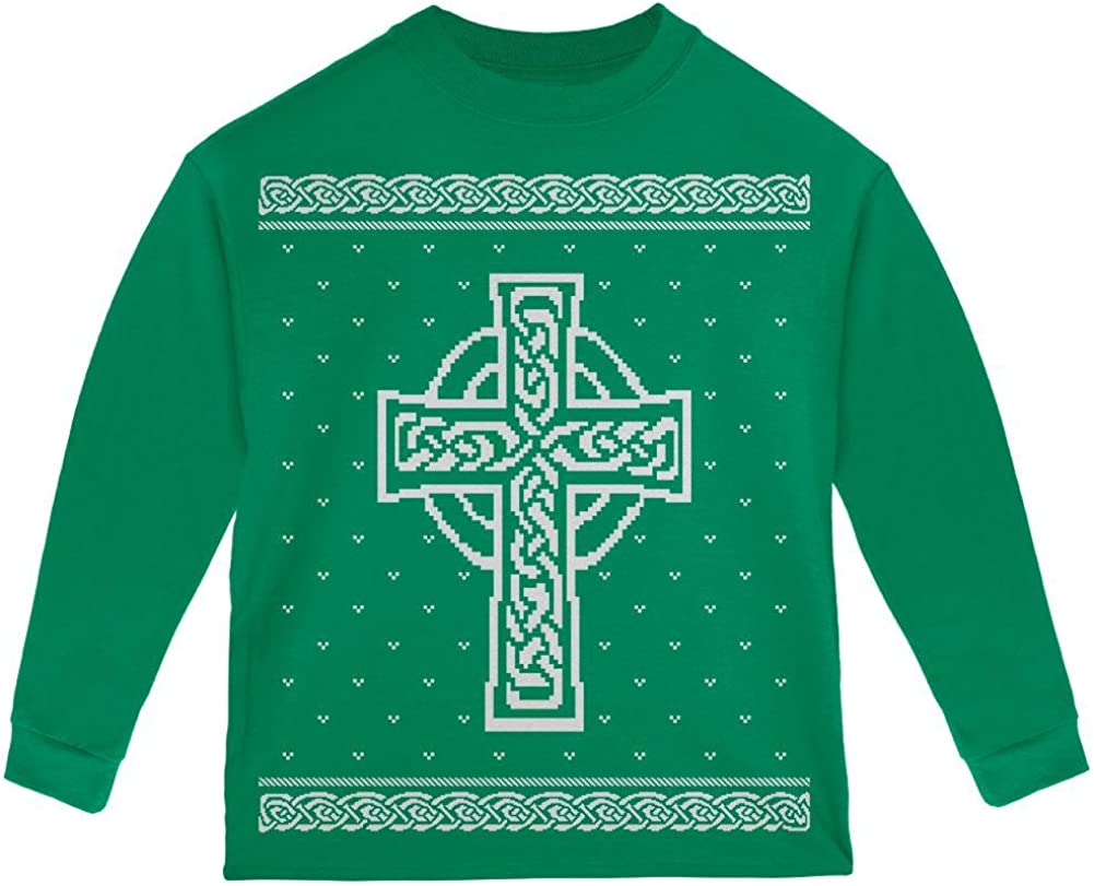 Cruz Celta irlandés Navidad Feo suéter niño Manga Larga T ...