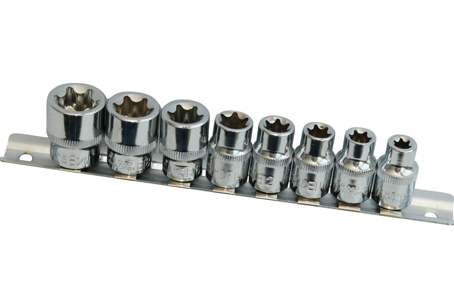 E14 E18 E16 AERZETIX: 8 Prese chiave a bussola 3//8 E-Torx E8 E11 E10 E12 E20 C17827