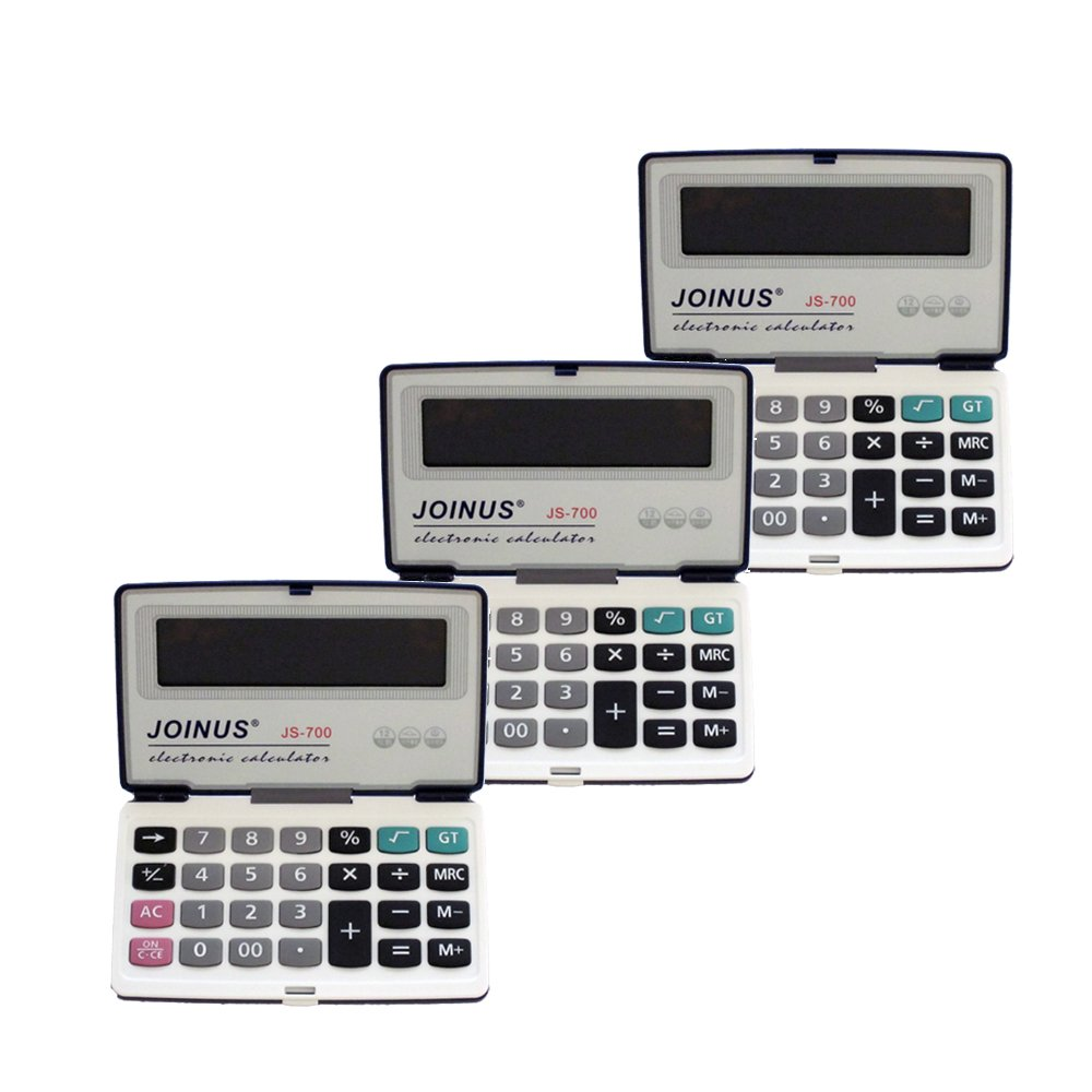 Pack of 3, JOINUS JS-700 Executive Foldable Style 12 Digit Hardcase Calculator by Bavvo