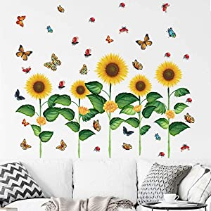 Sunflower Wall Decals Garden Flower Wall Stickers Plants Removable Wall Stickers for Bedroom Living Room Background Wall Decoration