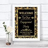Black And Gold Welcome Engagement Party Personalized Wedding Sign