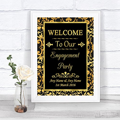 Black And Gold Welcome Engagement Party Personalized Wedding Sign by The Card Zoo