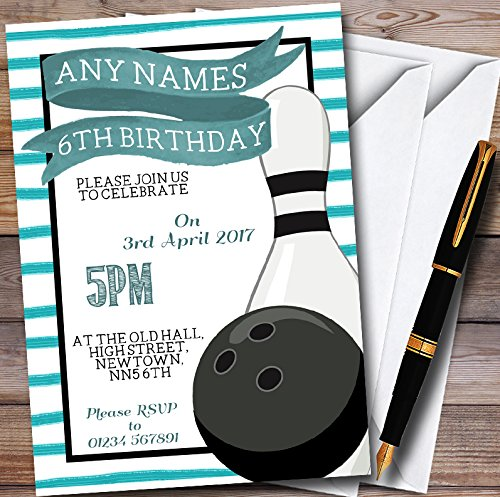 Green Stripe Bowling Ball & Pin Personalized Childrens Party Invitations Bowling Ball Invitations