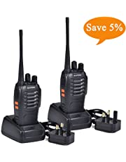 BF-888S Walkie Talkies long range Two Way Radio Handheld UHF 400-470MHz Transceiver Interphone With Rechargeable Li-ion Battery and LED Light Voice Prompt for Field Survival Biking and Hiking (2Pcs)