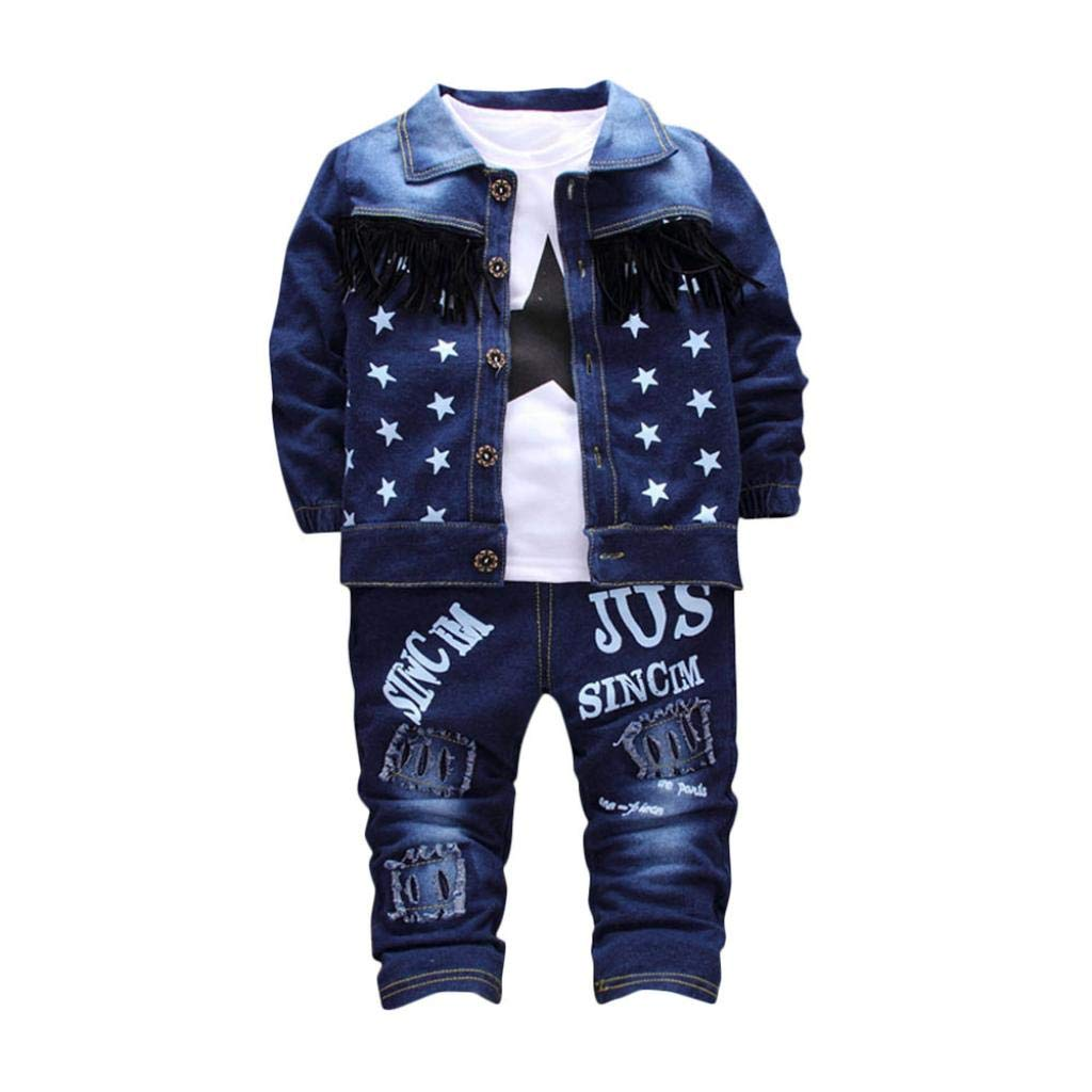 Hot Sale 3Pcs Set !! Kids Baby Girls Boys Tassel Button Front Denim Coat Jacket +Stars Tops +Letter Ripped Hole Jeans (Blue, 12-18 Months)