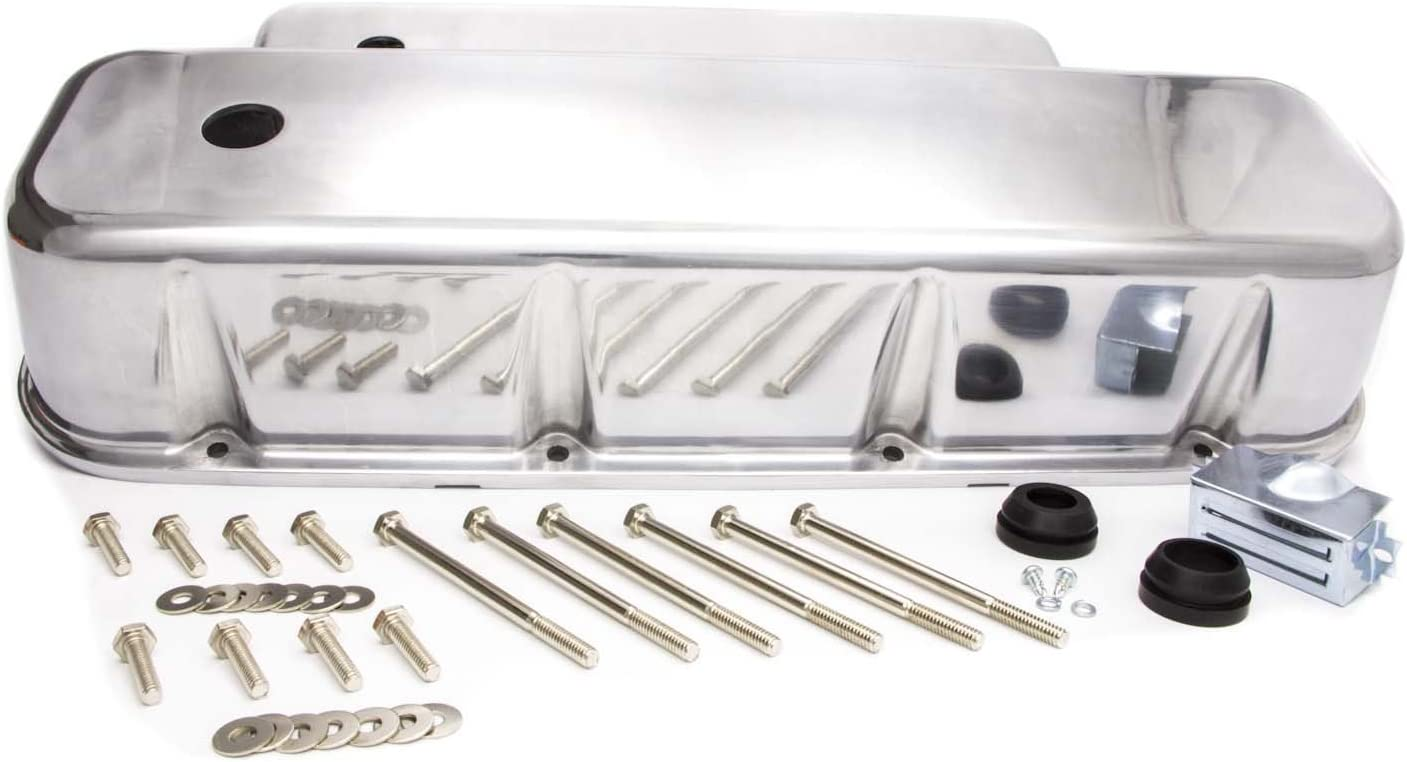 Racing Power Company R6330-2 Tall Plain Polished Aluminum Valve Cover for Big Block Chevy