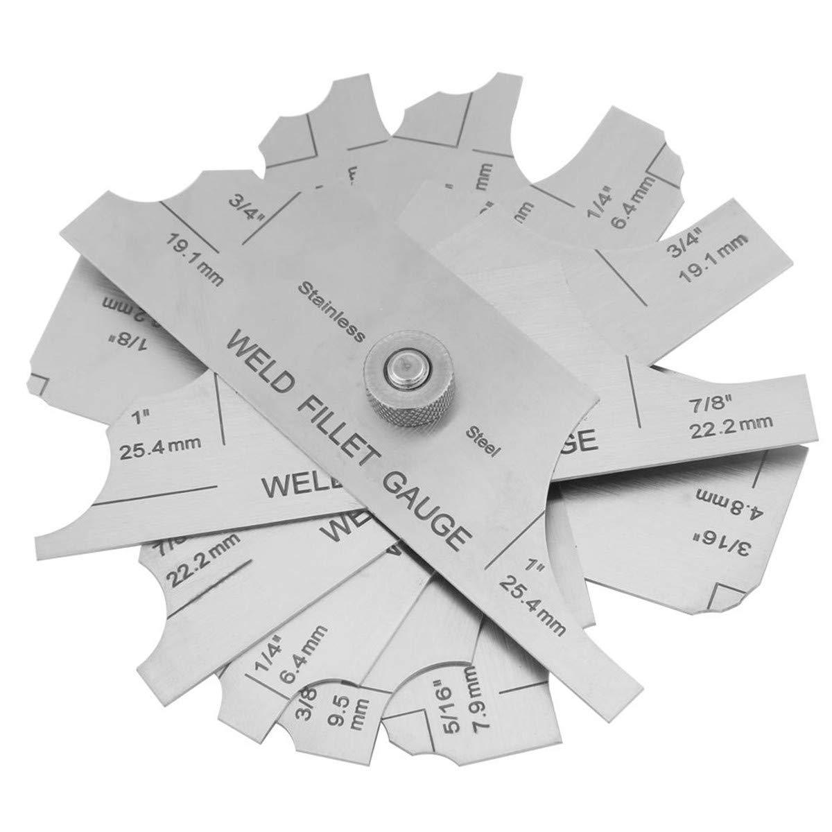 Fillet Weld Gauge Gage Set Stainless Steel Welding Inspection Gauge Inch / Metric Walfront