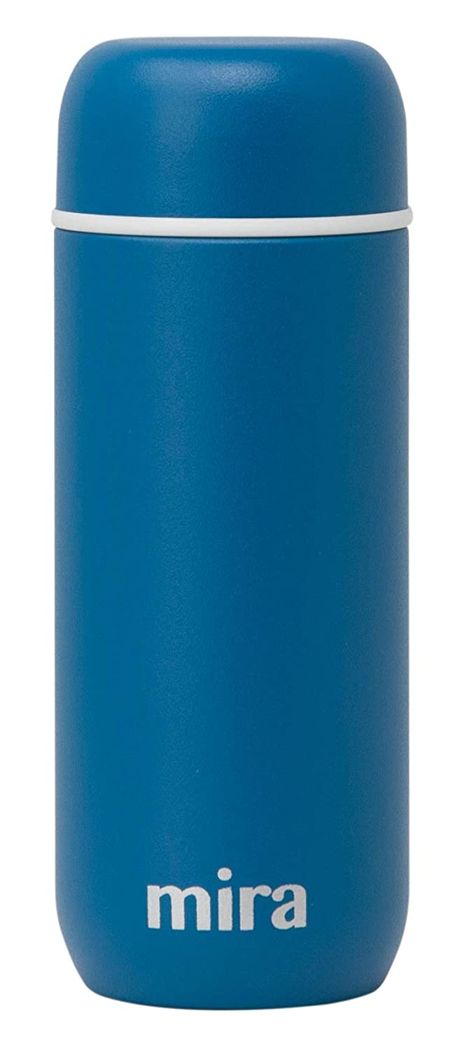 Mira 7 oz Insulated Small Thermos Flask | Kids Vacuum Insulated Water Bottle | Leak Proof & Spill Proof | Blue Denim
