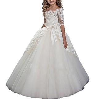 Auxico nuevo encaje media manga princesa vestidos de niña de flores para bodas tul bebé vestidos