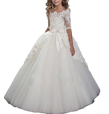 Auxico nuevo encaje media manga princesa vestidos de niña de flores para bodas tul bebé vestidos de comunión Vestido de noche