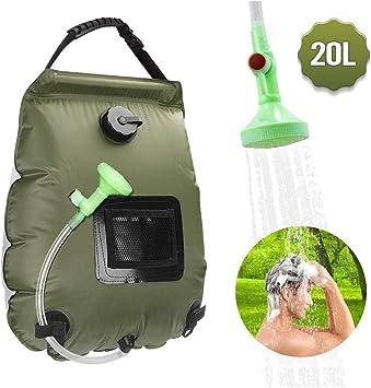 KIPIDA - Ducha solar para exteriores, 20 litros, para camping, con bolsa de agua caliente, con alcachofa de ducha, para jardín, piscina, para exterior, camping, senderismo, saco de agua plegable: Amazon.es: Deportes