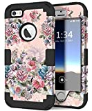 iPhone 5s Case, iPhone SE Case, Hocase Heavy Duty Shockproof Protection Hard Plastic+Silicone Rubber Bumper Dual Layer Full-Body Protective Phone Case for iPhone SE/5s/5 - Peony/Black