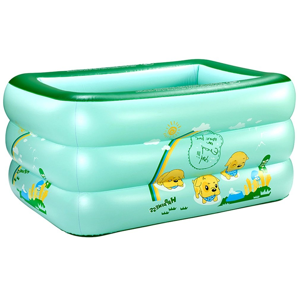 Children's Inflatable Pool Baby Bathtub PVC Home Kids Swimming Bucket Plastic Green color (Size : 1359055CM)