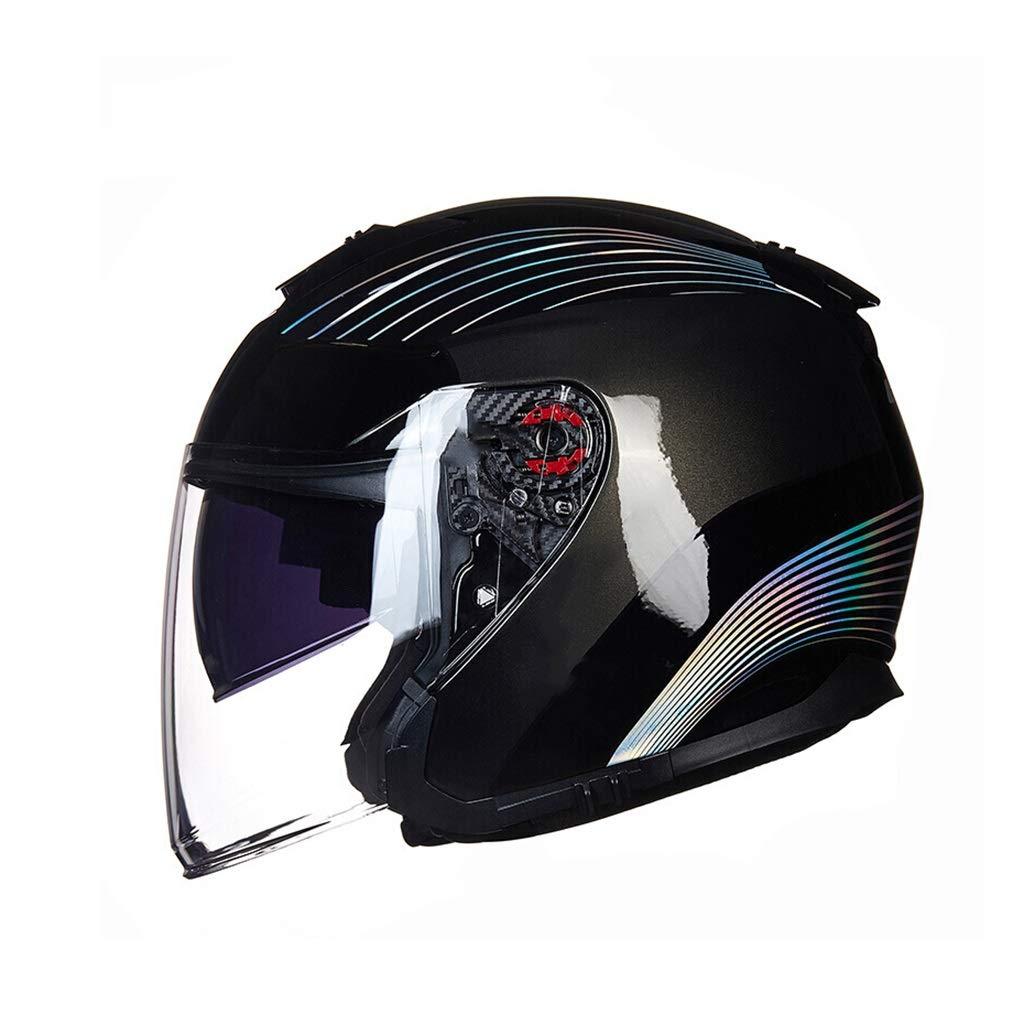 GWM オートバイのヘルメット、男性と女性の四季日焼け止め二重レンズハーフヘルメット、超軽量FRP UV保護電気自動車のヘルメット、レーザー2XL(頭の周59-60を推奨) (サイズ さいず : L l)  L l