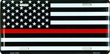 Fireman Dixie Seal /& Stamp Thin Red Line Metal License Plate 6x12 inch Black and Red America Auto Tag for Cars and Trucks Recognize and Support The Courage of Firefighters