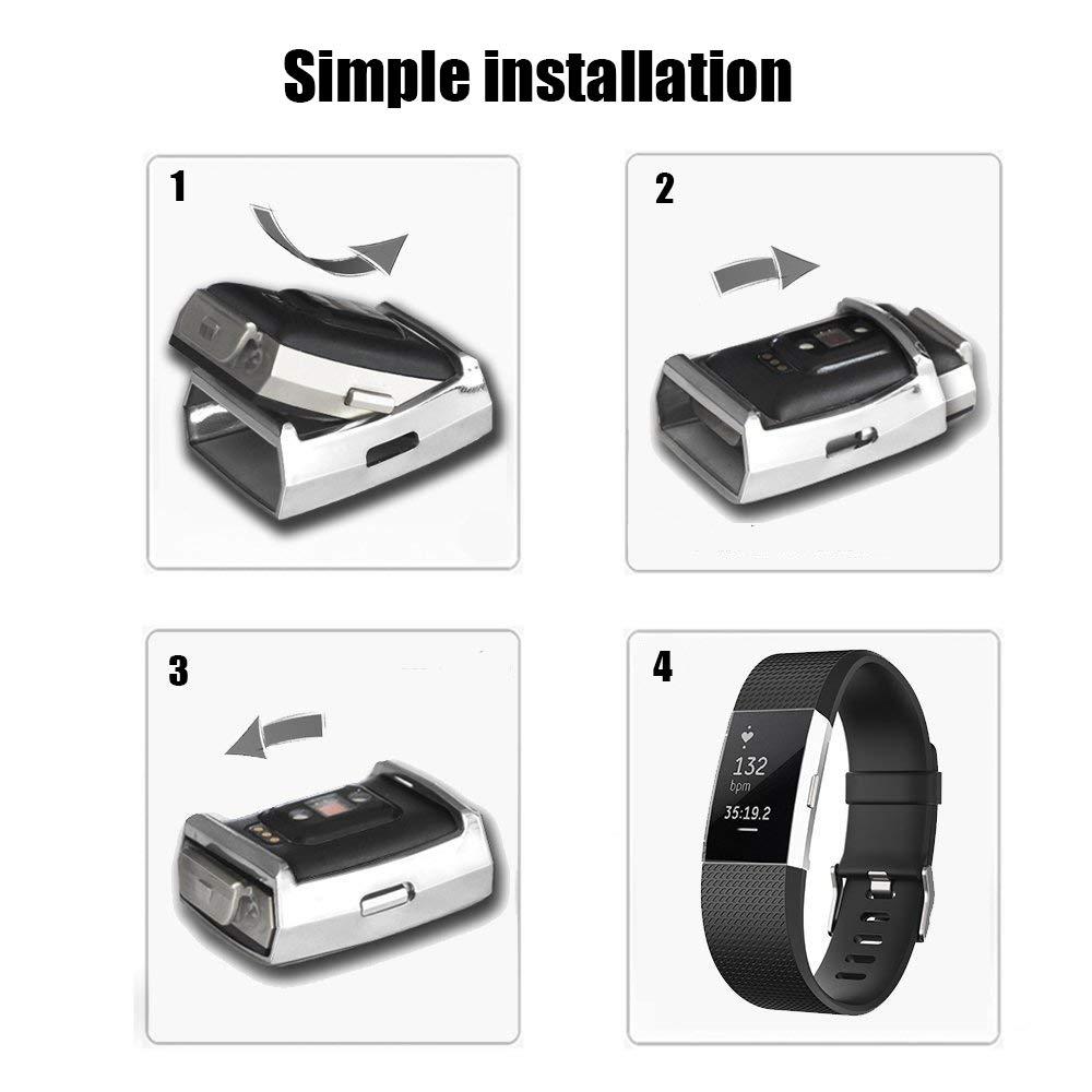 Oro Meoket per Fitbit Charge 2 Case unico di alta qualit/à Smartwatch pellicola protezione schermo TPU case in silicone ultra-sottile