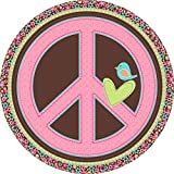 """Amscan Hippie Chick Lunch Paper Plates Birthday Party Disposable Tableware (8 Pack), 9"""", Multicolor"""