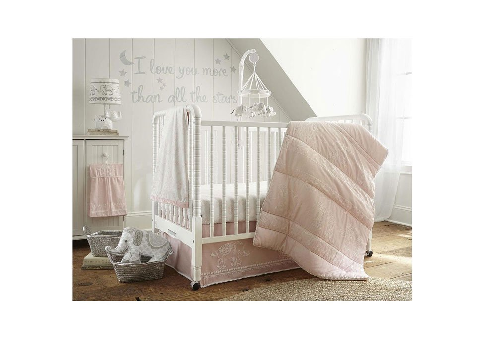 Levtex Baby Baby Ely Pink 5 Piece Crib Bedding Set, Quilt, 100% Cotton Crib Fitted Sheet, Dust Ruffle, Diaper Stacker and Large Wall Decals