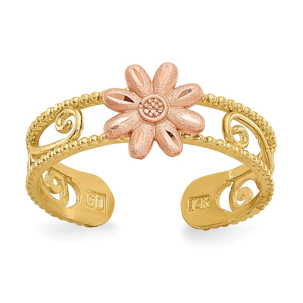 14k Two Tone Gold Flower Toe Ring