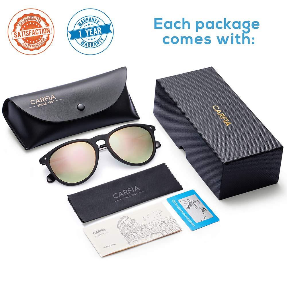 Carfia Vintage Polarized Sunglasses for Women UV400 Protection