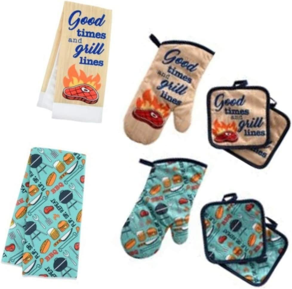 Home Collection BBQ Time 4 Piece Kitchen Set - Terry Towel Oven Mitt Potholders (Teal/Grilling Set)