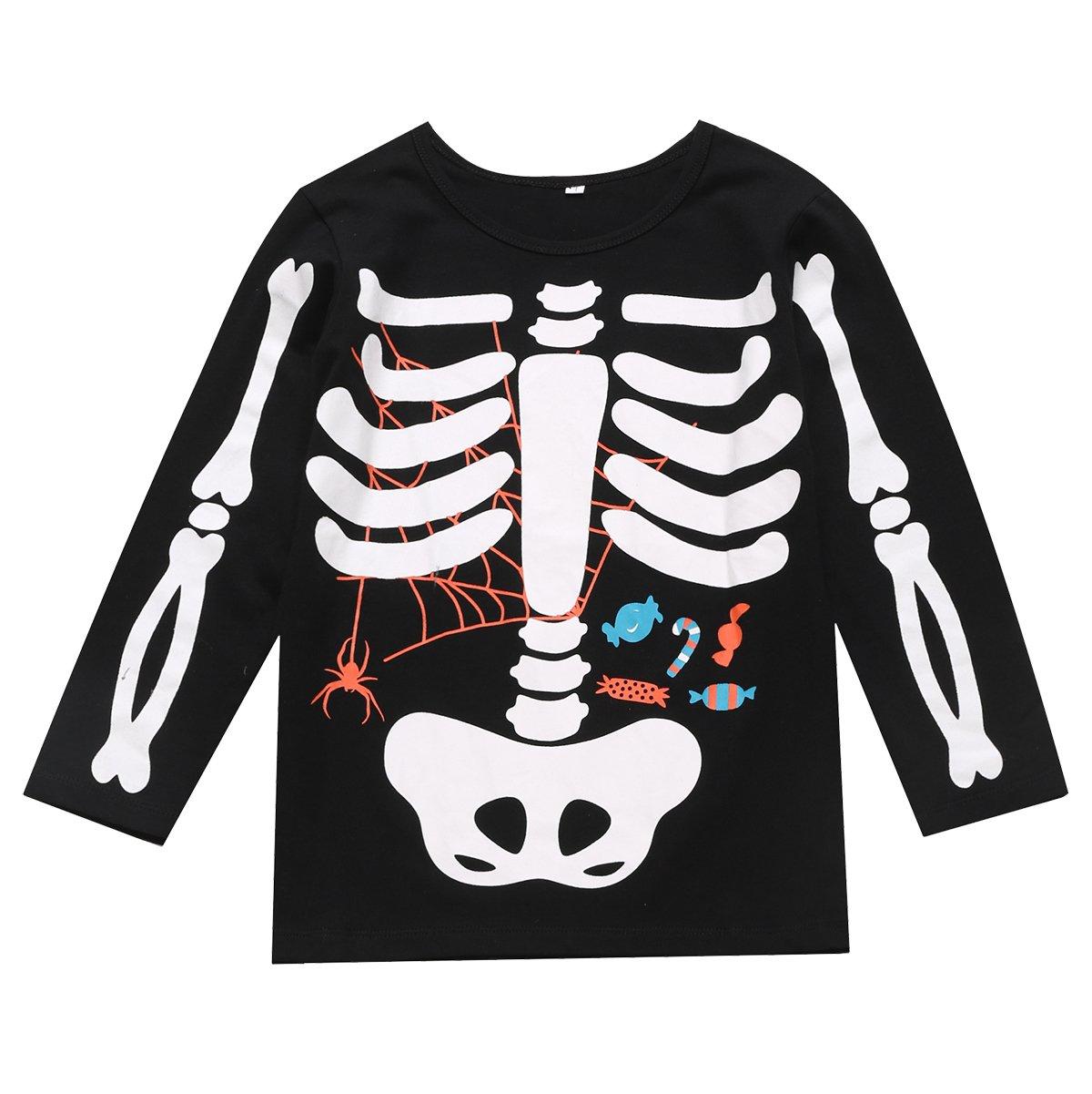 Little Fancy Halloween Unisex Boys' Kids Skeleton Costume Outfit Pants Set (7T) by Little Fancy (Image #2)