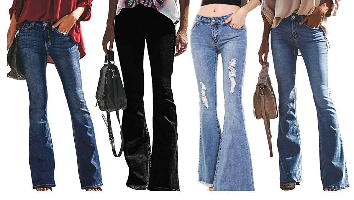 Hellblaue Stretch High Waist 60er 70er Retro Schlaghosen Bootcut Flared Jeans Schlank Denim Hosen Damen