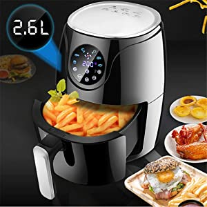 ALEXTREME Kitchen Digital Air Fryer Electric Touch Screen Large Capacity 2.6L Non-Stick Dishwasher Flat Basket Healthy Oil Free Cooking with 60 Min Automatic Timer Temperature Control Auto Shut Off