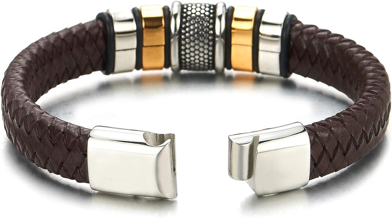 Fermoir Magn/étique COOLSTEELANDBEYOND Homme Bracelet en Rouge Cuir Entrelac/é Charmes Acier Inoxydable V/éritable Cuir