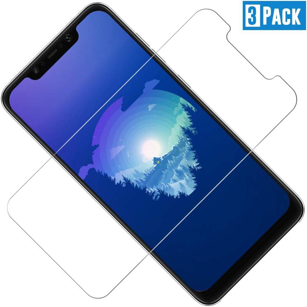 TOCYORIC Protector Pantalla Xiaomi Pocophone F1[3 Pack], Cristal Templado Pocophone F1, Vidrio Templado con [Alta Definicion] [9H Dureza] [Sin Burbujas] [Anti-Huella] [2.5D Borde Redondo]