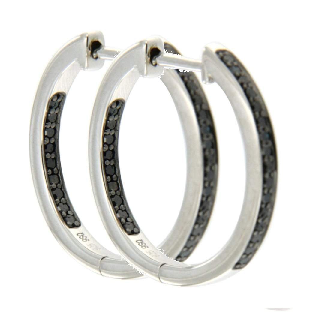 Black Diamond Earring Goldenstar 0.25Ct 925 Sterling Silver Hoop Earring