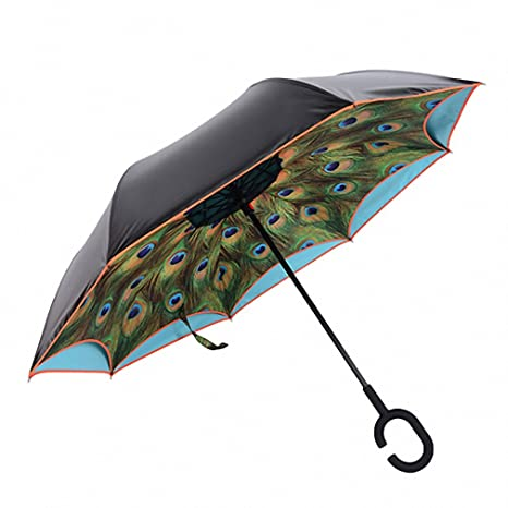 C Hook Windproof Sun Rain Umbrella Parasol Double Layer Inverted Reverse Bumbershoot Umbrellas Paraguas Novelty Rain