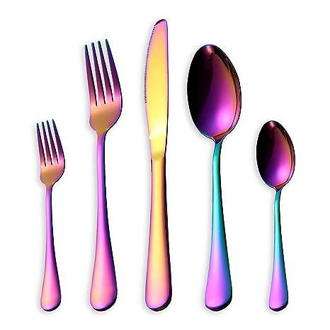 HOMQUEN Set de cubiertos/cubiertos de colores, 30 piezas Set de cuchillos de acero