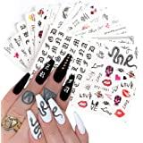 Nail Art Stickers Decals Nail Foil Art Supplie Nail Accessories Street Fashion Python Cool Letter 16 Designs Nail Water…