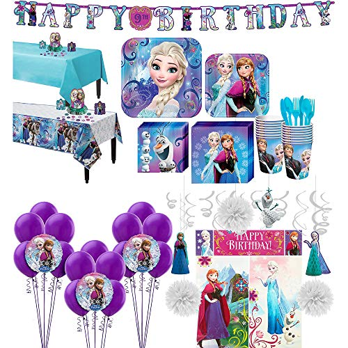 Party City Frozen Ultimate Tableware Supplies for 16 Guests, Include Plates, Napkins, Banner, Balloons, and -