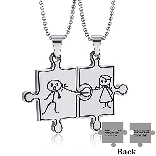 7528da5d46 Sunling Stainless Steel Cute Couple Figures Necklace Set Missing Puzzle I Love  You Quotes Promised Pendant
