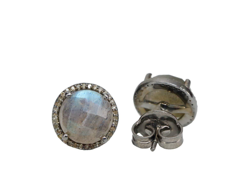 9b4bad728 Amazon.com: Labradorite Pave diamond Oxidized Sterling Silver Stud Earrings  - 12.5 mm: Handmade