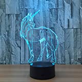 Circle Circle Unicorn 3D Optical Illusion Lamp 7 Colors Change and 15 Keys Remote Control LED Night Light Perfect Gifts Toys for Children Kids