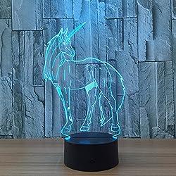 Circle Circle Unicorn 3D Optical Illusion Lamp 7 Colors...